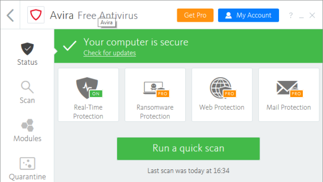 Avira Free Antivirus for Windows 10 Screenshot 1