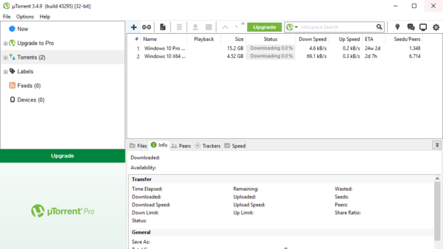 µTorrent for Windows 10 Screenshot 1