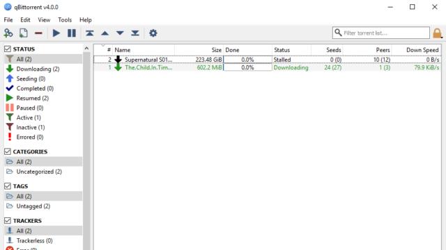 qBittorrent for Windows 10 Screenshot 1
