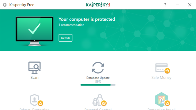 Kaspersky Free Antivirus for Windows 10 Screenshot 1