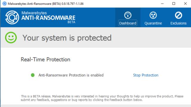Malwarebytes Anti-Ransomware for Windows 10 Screenshot 1