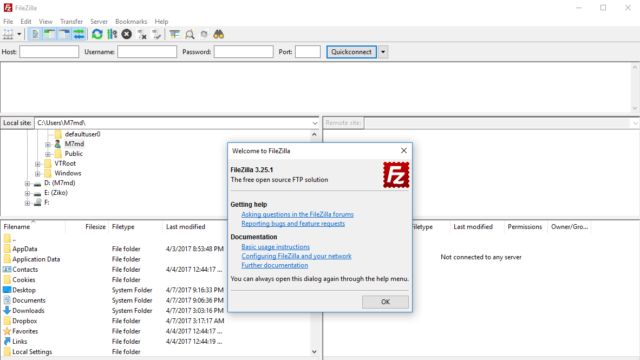 FileZilla for Windows 10 Screenshot 1