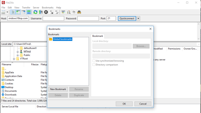 FileZilla for Windows 10 Screenshot 2