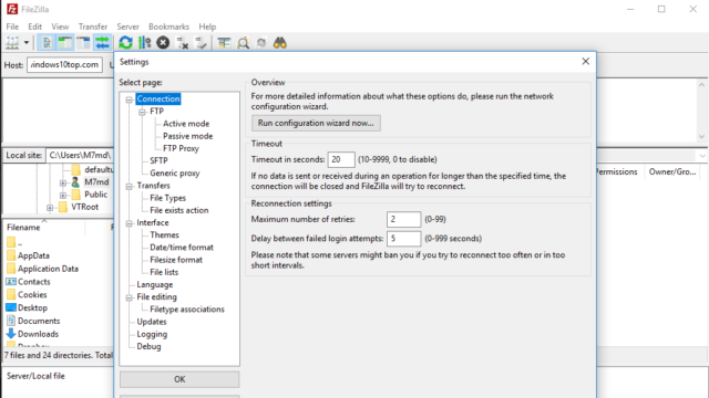 FileZilla for Windows 10 Screenshot 3