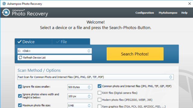 Ashampoo Photo Recovery for Windows 10 Screenshot 1