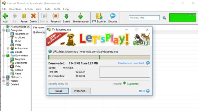 Internet Download Accelerator for Windows 10 Screenshot 1