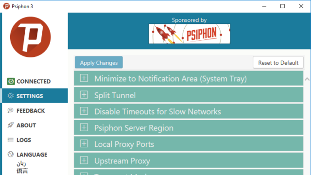 Psiphon for Windows 10 Screenshot 2