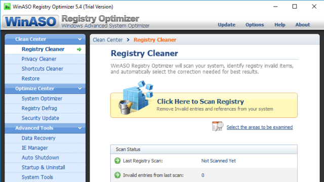 WinASO Registry Optimizer for Windows 10 Screenshot 1