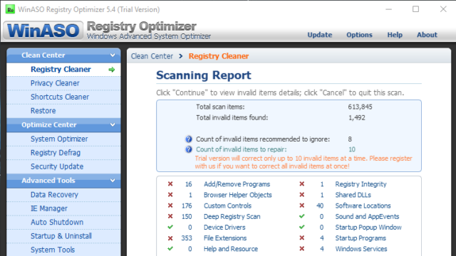 WinASO Registry Optimizer for Windows 10 Screenshot 2