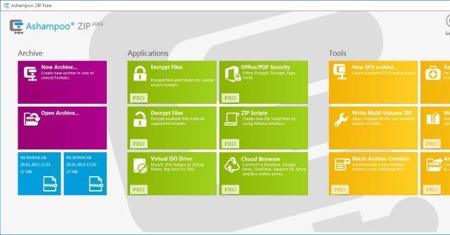 Ashampoo ZIP FREE for Windows 10 Screenshot 1