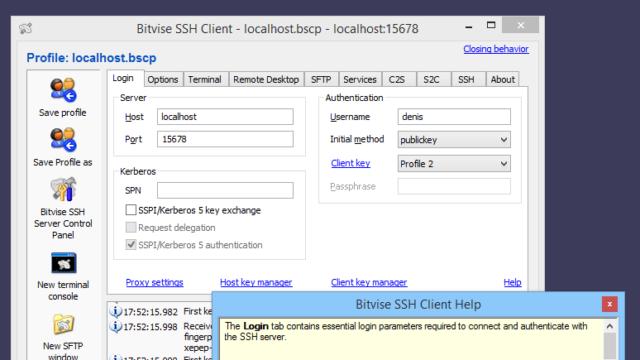 Bitvise SSH Client for Windows 10 Screenshot 1