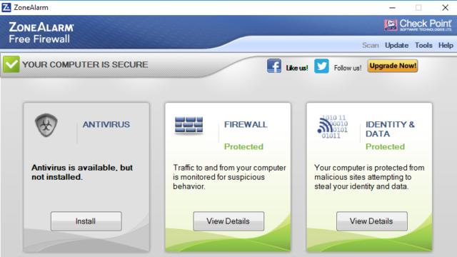 ZoneAlarm Free Firewall for Windows 10 Screenshot 1