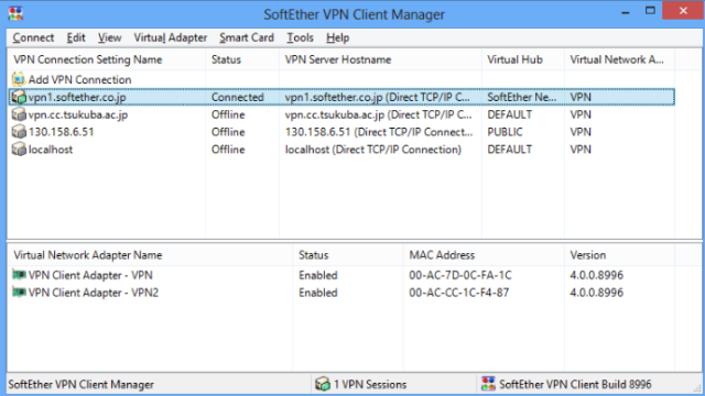 SoftEther VPN Client for Windows 10 Screenshot 1