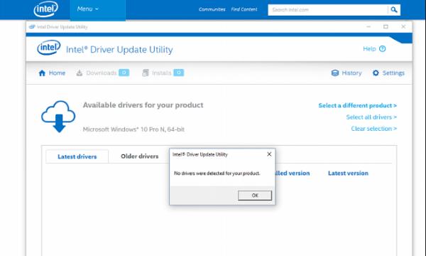Intel Driver Update Utility for Windows 10 Screenshot 1