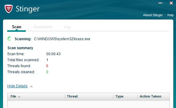 McAfee Stinger for Windows 10 Screenshot 1