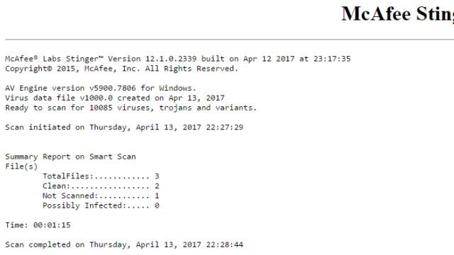 McAfee Stinger for Windows 10 Screenshot 2