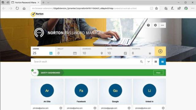 Norton Password Manager for Windows 10 Screenshot 1