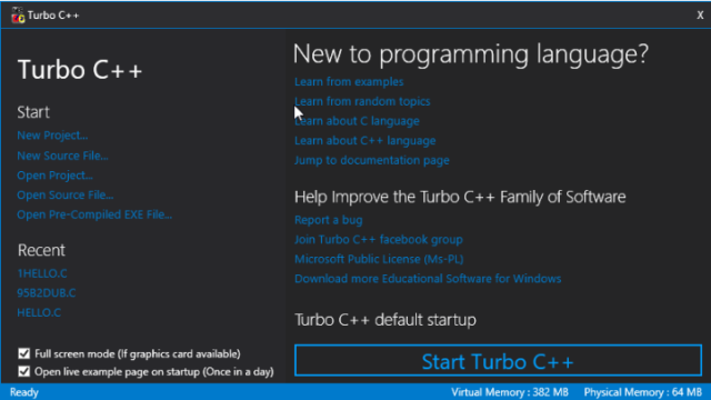 Turbo C++ for Windows 10 Screenshot 1
