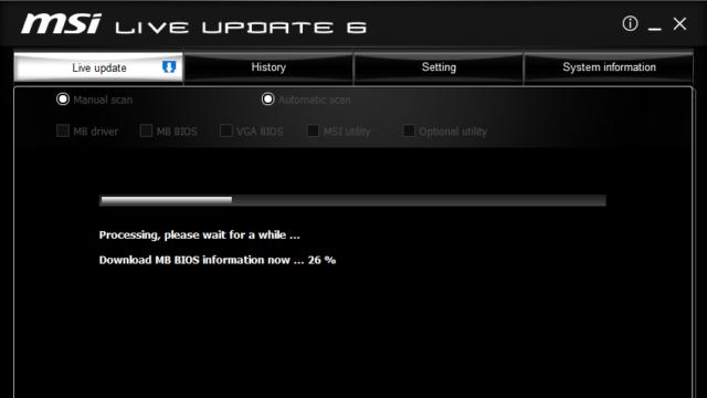 MSI Live Update for Windows 10 Screenshot 1