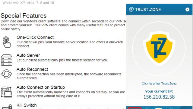 Trust.Zone VPN for Windows 10 Screenshot 1