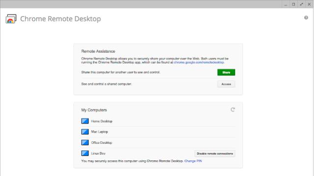 Chrome Remote Desktop for Windows 10 Screenshot 1