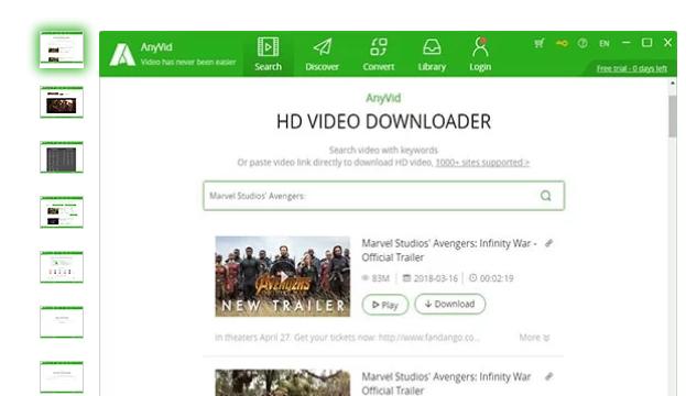 AnyVid for Windows 10 Screenshot 1