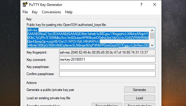PuTTYgen for Windows 10 Screenshot 2